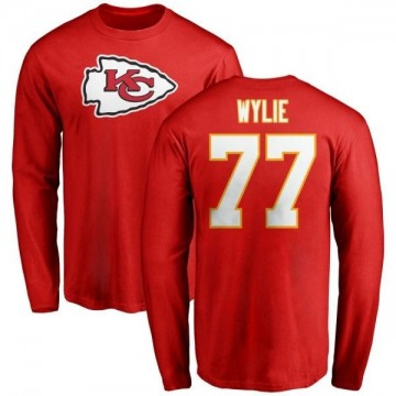 Men's Andrew Wylie Kansas City Chiefs Name & Number Logo Long Sleeve T-Shirt - Red