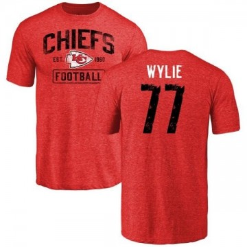 Men's Andrew Wylie Kansas City Chiefs Red Distressed Name & Number Tri-Blend T-Shirt