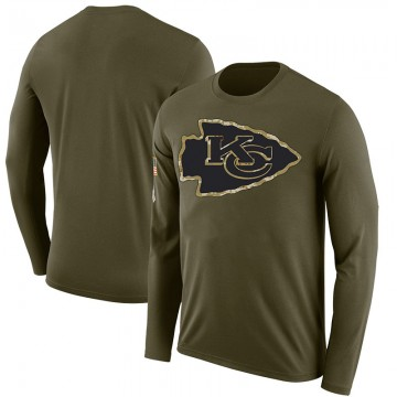 Men's Blank Kansas City Chiefs Salute to Service Sideline Olive Legend Long Sleeve T-Shirt