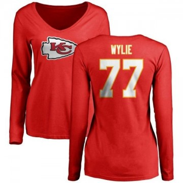 Women's Andrew Wylie Kansas City Chiefs Name & Number Logo Slim Fit Long Sleeve T-Shirt - Red