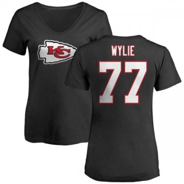 Women's Andrew Wylie Kansas City Chiefs Name & Number Logo Slim Fit T-Shirt - Black