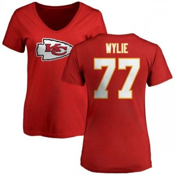 Women's Andrew Wylie Kansas City Chiefs Name & Number Logo Slim Fit T-Shirt - Red
