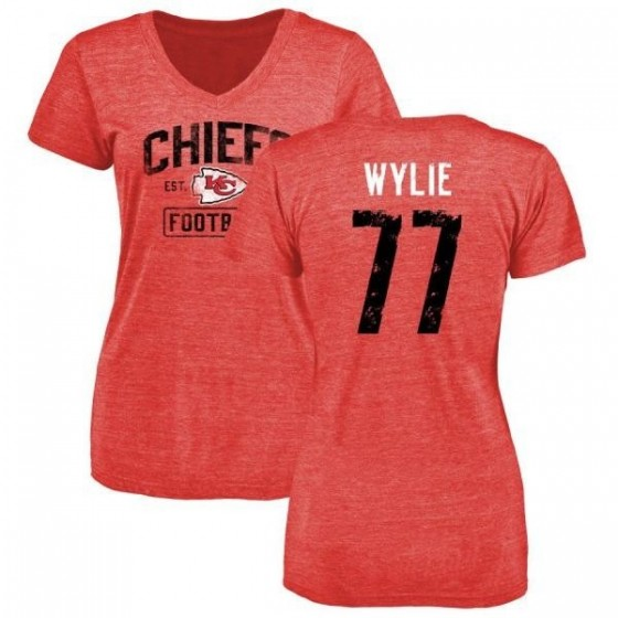 Women's Andrew Wylie Kansas City Chiefs Red Distressed Name & Number Tri-Blend V-Neck T-Shirt