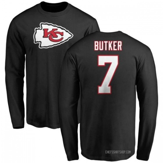 new style febb9 e5f17 Youth Harrison Butker Kansas City Chiefs Name & Number Logo Long Sleeve  T-Shirt - Black