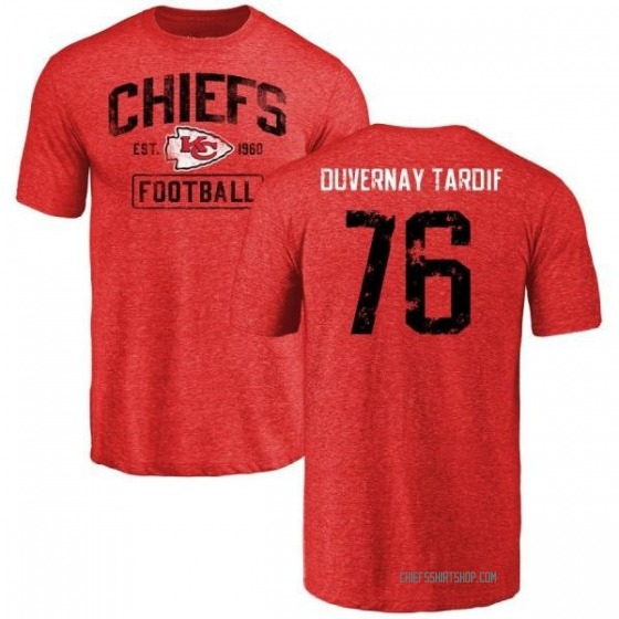 timeless design 04973 b553a Youth Laurent Duvernay-Tardif Kansas City Chiefs Red Distressed Name &  Number Tri-Blend T-Shirt